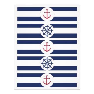"""Etiquetas náuticas de la botella de agua de la fie folleto 8.5"""" x 11"""""""