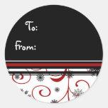 Etiquetas negras blancas rojas del regalo del copo