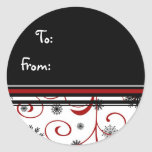 Etiquetas negras blancas rojas del regalo del copo etiqueta redonda