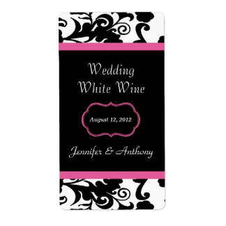 Etiquetas negras, blancas y rosadas del vino del b etiqueta de envío