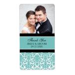 Etiquetas negras del boda de la foto del damasco d etiquetas de envío