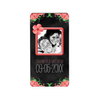 Etiquetas negras florales rosadas de la foto del etiquetas de dirección