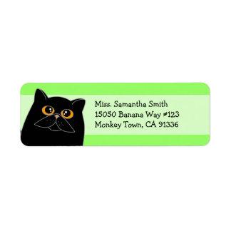 Etiquetas negras lindas del remite del gato persa etiquetas de remite