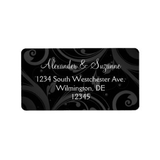 Etiquetas negras personalizadas del boda o del fav etiqueta de dirección