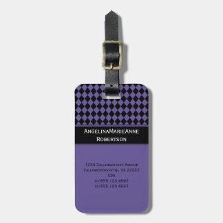 Etiquetas negras púrpuras femeninas del modelo del etiquetas bolsa