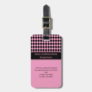 Etiquetas negras rosadas femeninas del modelo del  etiqueta para equipaje