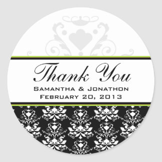 Etiquetas negras y blancas del boda del acento del pegatinas redondas