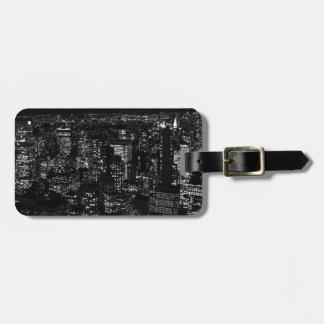Etiquetas negras y blancas del equipaje de New Yor Etiqueta De Equipaje