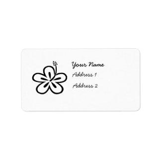 Etiquetas negras y blancas del hibisco etiqueta de dirección