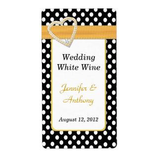 Etiquetas negras y blancas elegantes del boda del  etiqueta de envío