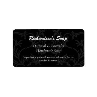 Etiquetas negras y grises de lujo del jabón del etiqueta de dirección