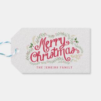 Etiquetas nostálgicas del regalo de vacaciones del etiquetas para regalos