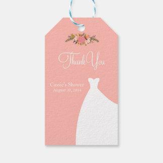 Etiquetas nupciales del favor de la ducha, vestido etiquetas para regalos