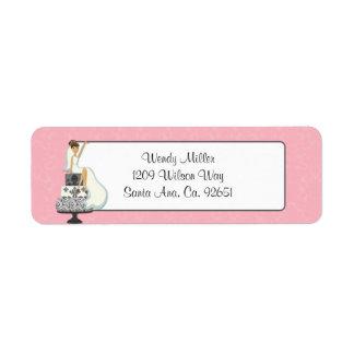 Etiquetas nupciales rosadas del remite de la ducha etiqueta de remitente