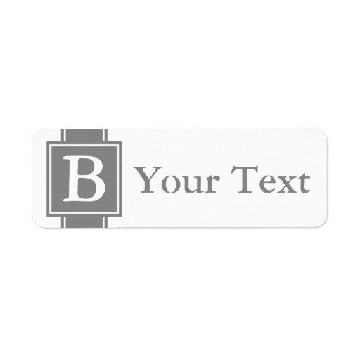 Etiquetas o etiquetas cones monograma grises de en etiqueta de remite