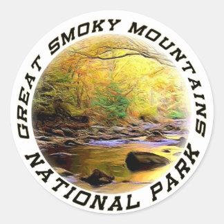 Etiquetas o pegatinas de Great Smoky Mountains NP Pegatina Redonda
