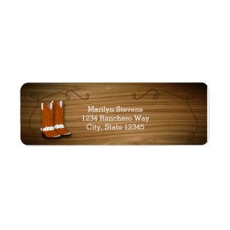 Etiquetas occidentales de madera de la cuerda y de etiqueta de remite