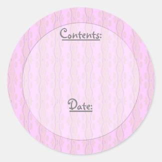 Etiquetas onduladas del color/de la comida y del pegatina redonda
