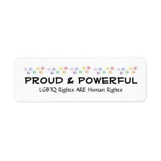Etiquetas orgullosas y potentes etiquetas de remite