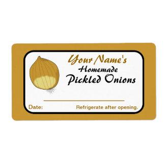 Etiquetas personalizadas cebollas de la salmuera p etiquetas de envío