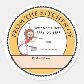 Etiquetas personalizadas culinarias de la venta pegatina redonda