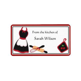 Etiquetas personalizadas de la cocina - talla etiqueta de dirección