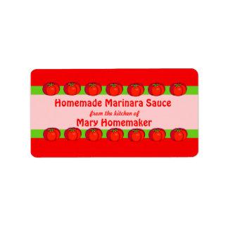 Etiquetas personalizadas de la salsa de tomate etiqueta de dirección