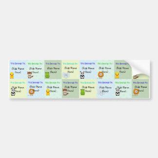Etiquetas personalizadas de los niños, pegatinas i etiqueta de parachoque