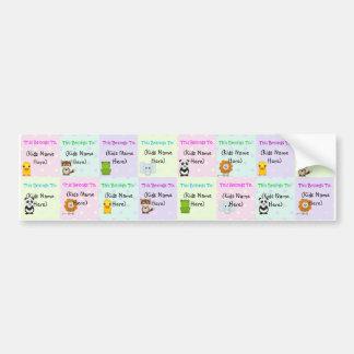 Etiquetas personalizadas de los niños, pegatinas i pegatina de parachoque