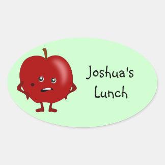 Etiquetas personalizadas del almuerzo: Apple Pegatina Ovalada