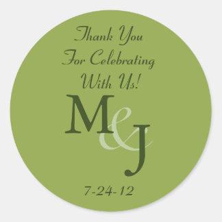 Etiquetas personalizadas del favor del boda de la etiquetas redondas