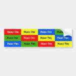 Etiquetas personalizadas del nombre de los niños;  etiqueta de parachoque