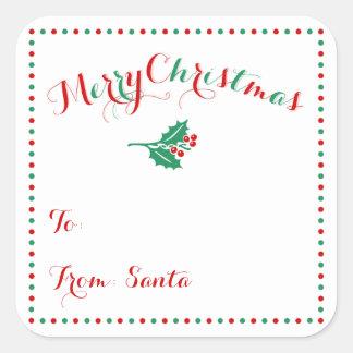 Etiquetas personalizadas del regalo del navidad de pegatina cuadrada