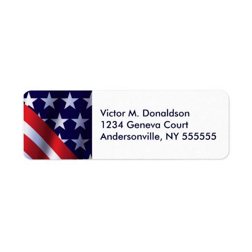 Etiquetas personalizadas patrióticas del remite etiqueta de remite