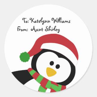 Etiquetas personalizadas pingüino lindo del regalo pegatina redonda