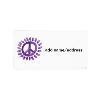 etiquetas pintadas púrpura del signo de la paz etiqueta de dirección