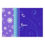 Etiquetas púrpuras azules del regalo de los copos  tarjetas de visita