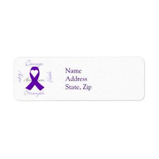 Etiquetas púrpuras de la cinta de la conciencia de etiqueta de remitente