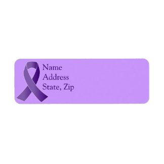Etiquetas púrpuras de la cinta de la conciencia de etiquetas de remite