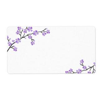 Etiquetas púrpuras de la flor de cerezo etiqueta de envío
