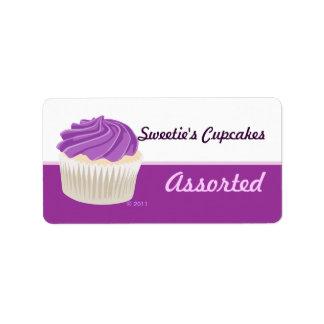 Etiquetas púrpuras de la magdalena etiquetas de dirección