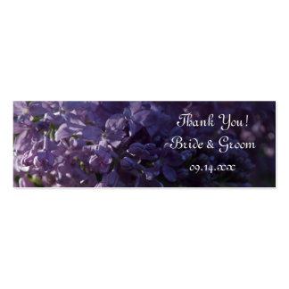 Etiquetas púrpuras del favor del boda de la lila tarjetas de visita