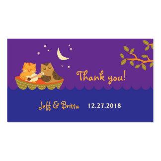 Etiquetas (púrpuras) del favor del boda del búho y tarjetas de visita