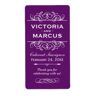 Etiquetas púrpuras del favor del monograma de la etiquetas de envío
