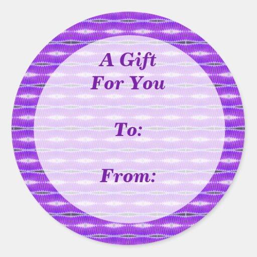 etiquetas púrpuras del regalo del modelo pegatina redonda