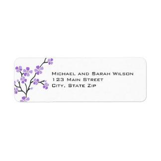 Etiquetas púrpuras del remite de la flor de cerezo etiqueta de remite