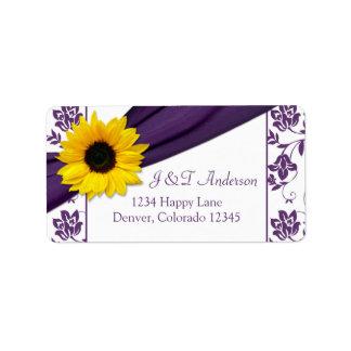 Etiquetas púrpuras del remite del boda del girasol etiquetas de dirección