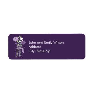 Etiquetas púrpuras del remite del tarro de albañil etiqueta de remite