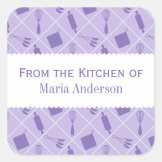 Etiquetas púrpuras retras de la cocina de los calcomanía cuadradas personalizada