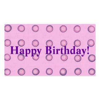 Etiquetas púrpuras rosadas acodadas del feliz cump plantillas de tarjeta de negocio